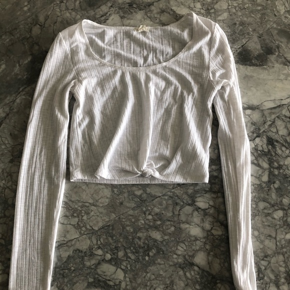 white crop top with long sleeves